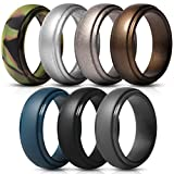 Saco Band Silicone Rings for Men - 7 Pack Rubber Wedding Bands