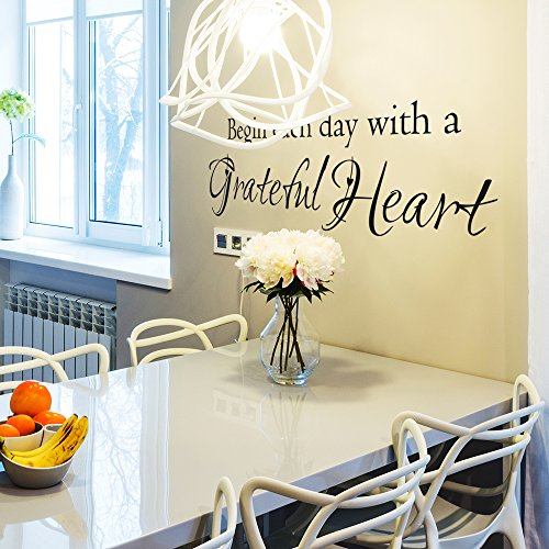 Begin Each Day With A Grateful Heart - Wall Vinyl Decal Sticker Family Kids Room Decor Motivation Love Home Thankful Inspirational Quote Art (34x10