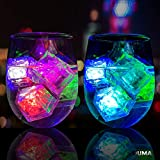 (12 Pack) Multi Color Flash LED Ice Cube Water Activated Flashing Blinking Glowing Light up Ice Cubes for Party Wedding Bars Christmas