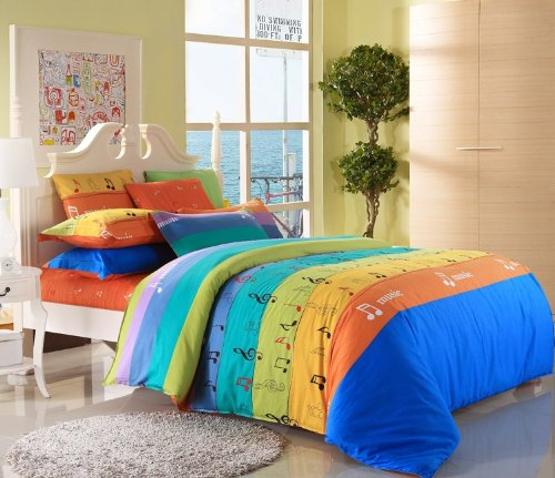 Cliab Music Notes Bedding Twin Duvet Cover Set 100% Cotton 4 Pieces