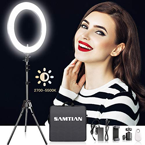 18 Inch Adjustable 2700-5500K Color Temperature Ring Light, SAMTIAN Dimmable SMD LED Ring Light Photography Video Lighting Kit with 78″ Light Stand, Phone Holder for YouTube, Portrait, Vlog, Makeup