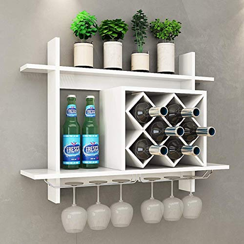 Diamond Shaped Wine Rack, White Wall-Mounted, Multi-functional
