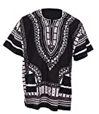 Black Traditional African Print Unisex Dashiki Shirt (XXX-Large)
