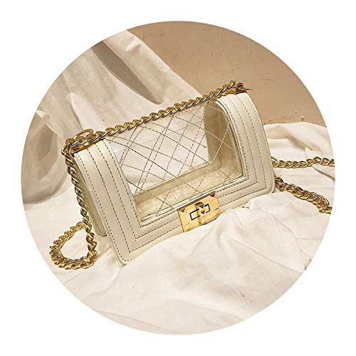 Transparent Jelly bag 2019 Fashion New PU Leather Women's Designer Handbag Lock Lingge Chain Shoulder Messenger bag,WHITE,20 X 7 X 13 CM