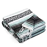 Topaz Hill Mexican Blanket - Large Size Woven Yoga Blanket for Outdoor - Throw for Picnic, Beach, Park, Travel, Bedding, Home Decor (Mint Blue)