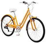Schwinn Suburban Comfort Hybrid Bike, Featuring Low Step-Through Steel Frame and 7-Speed Drivetrain with 26-Inch Wheels, Small/16-Inch Frame, Orange