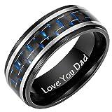 Willis Judd Men's DAD Black Titanium Ring with Blue Carbon Fiber Engraved Love You Dad with Velvet Gift Box