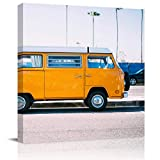 Painting Canvas Wall Art Yellow Minibus Parked On The Road Giclee Artwork Modern Framed Prints Ready to Hang Wall Paintings for Living Room Bedroom Kitchen Home Decorations 12x12Inch