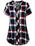 MOQIVGI Checker Shirt, Womens Notch Neck Short Sleeve Tartan Plaid Blouse Trendy Comfy Form Fitting A-line Button Embellished Pleated Back Tops Business Casual Office Wear Blue Red Large