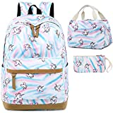 BLUBOON Backpack for School Girls Teens Kids Bookbag Set Laptop Backpack Lunch Box Purse White- Rainbow