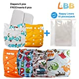 Reusable Baby Cloth Pocket Diapers, 6 pcs + 6 Inserts, Aanimal, One Size