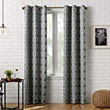 Sun Zero Barnett Trellis Blackout Grommet Curtain Panel, 40' x 84', Gray