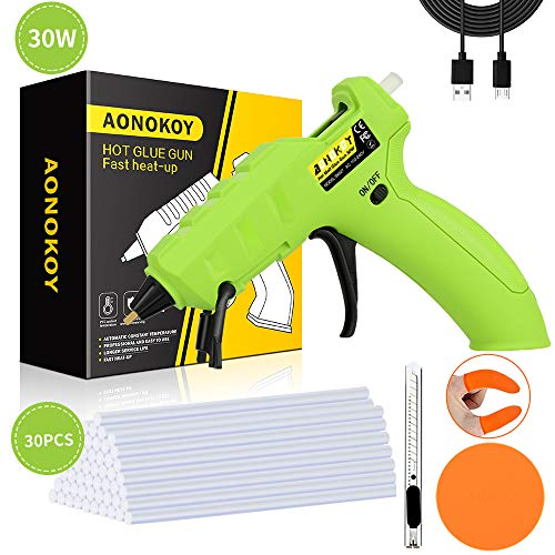 Cordless Hot Glue Gun,AONOKOY 30W USB Rechargeable Anti-Drip Mini Melt Glue Gun Kit with 30pcs Glue Sticks for DIY Arts&Crafts,Home Quick Repair,Festival Decoration