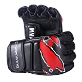 Cheerwing Boxing Gloves MMA UFC Sparring Grappling Fight Punch Mitts Leather Training Gloves, Black