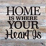"Artistic Reflections Pallet Art RE1038w Home Is Where Your Heart Is, 10.5"" x 10.5"", White"