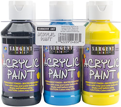 Sargent Art 22-4806 Primary Acrylic Paint Set, 4 Ounce, 6-Pack