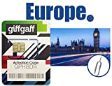 Giffgaff PrePaid Sim Card Travel Europe 37 Counties for 10 Days-Preloaded Unlimited 4G/LTE Data and Talk with 3-in-1 Size