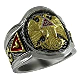 UNIQABLE Scottish Rite 32 Degree Masonic Knights Templar Sterling Silver 18k Gold Plated Freemasonry Signet Ring KTR005 (8.5)