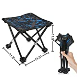 AILLOVCOL Mini Portable Folding Stool,Folding Camping Stool, Outdoor Folding Chair for BBQ,Camping,Fishing,Travel,Hiking,Garden,Beach,Oxford Cloth Seat with Carry Bag,11.5'x11.5'x11.5'(Camouflage)