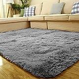ACTCUT Super Soft Indoor Modern Shag Area Silky Smooth Fur Rugs Fluffy Rugs Anti-Skid Shaggy Area Rug Dining Room Home Bedroom Carpet Floor Mat 4- Feet by 5- Feet (Grey)