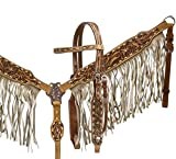Product review for Showman Tooled Leather and Tan Suede Fringe Bridle, Breast Collar, and Split Reins Set with Copper Hardware