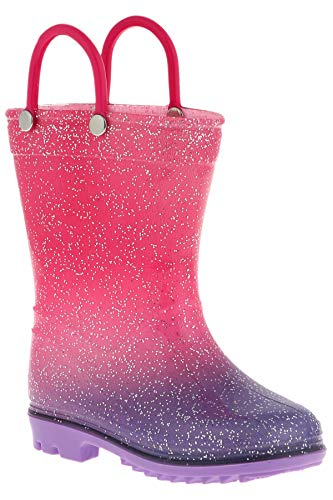 Capelli New York Toddler Girls Ombre Effect Rain Boots with Allover Glitter Pink Combo 8