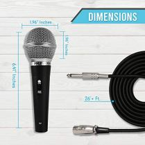 Pyle-3-Piece-Professional-Dynamic-Microphone-Kit-Cardioid-Unidirectional-Vocal-Handheld-MIC-with-Hard-Carry-Case-Bag-HolderClip-26ft-XLR-Audio-Cable-to-14-Audio-Connection-PDMICKT34