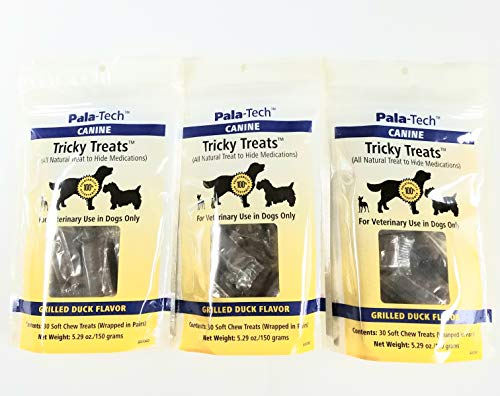 Tricky Treats Pack of 3, Canine Grilled Duck Flavor, 30 Count Each, by Pala-Tech 1