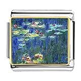 GiftJewelryShop Gold Plated Monet Water Lilies Bracelet Link Photo Italian Charm