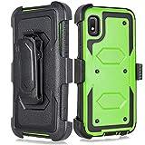 Galaxy A10e Case, Built-in [Screen Protector] Heavy Duty Full-Body Rugged Holster Armor Case [Belt Swivel Clip][Kickstand] Samsung Galaxy A10e 5.8inch (Green)