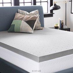 LUCID 3 Inch Bamboo Charcoal Memory Foam Mattress Topper – Twin