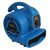 XPOWER P-80A Mini Mighty Air Mover, Floor Fan, Dryer, Utility Blower with Built-in Power Outlets- Blue