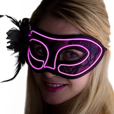 Neon Nightlife Women's Light Up Venetian Mask Mardi Gr