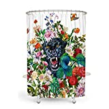 MACOFE Shower Curtain 3D Shower Curtain Floral Shower Curtain Polyester Fabric, Waterproof, Machine Washable,Hooks Included,Animal Shower Curtain Original Design Hand Drawing,71x71in