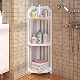 Sodoop Bathroom Storage Shelf, 3-Tier Shelving Unit Bathroom Floor Storage Corner Tower,Storage Shelf Bookcase Display Organizer for Bath, Office, Bedroom, Living Room
