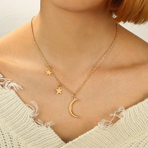GreatFun - Collar con colgante irregular con diseño de luna y estrellas para mujer
