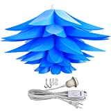 Lightingsky Ceiling Pendant DIY IQ Jigsaw Puzzle Lotus Flower Lamp Shade Kit with 15 Feet Hanging Cord (Blue)