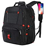 Large Laptop Backpack, Travel Backpack for Women and Men, Computer Backpack Business Bagpack for 17.3 Inch Notebook, Water Resistant Big College School Bookbag with USB Port & Headphone Hole - Black