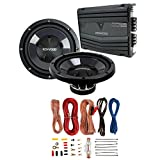 2) New Kenwood KFC-W110S 10' 1400W Car Subwoofers + KAC-5207 400W Amp + Amp Kit