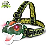 Lamibaby LED Headlamp Headlight - T-Rex Dinosaur Headlamp flashlight for Kids | Realistic Roar Sounds | Toy Head Lamp for Camping, Hiking, Reading, Parties