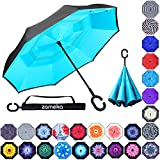 Zameka Double Layer Inverted Umbrellas Reverse Folding Umbrella Windproof UV Protection Big Straight Umbrella Inside Out Upside Down for Car Rain Outdoor with C-Shaped Handle (New Lake Blue)