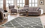 Ottomanson Paterson Collection Contemporary Moroccan Trellis Design Lattice Area Rug, 94' W, Grey