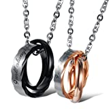 """Opk Jewelry Stainless Steel Macthing Couple Necklaces """"I Will Always Be with You"""" Ring Band Circle Hook-ups Pendent Promise Love Wedding Jewel Gift with Chain.one Pair"""