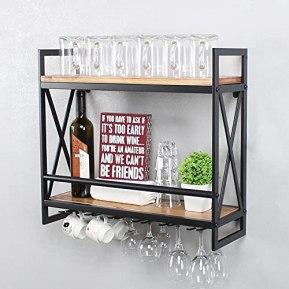 Womio-Industrial-Wine-Racks-Wall-Mounted-with-6-Stem-Glass-Holder24in-Rustic-Metal-Hanging-Wine-Holder-Wine-Accessories2-Tiers-Wall-Mount-Bottle-Holder-Glass-RackWood-Shelves-Wall-ShelfBlack