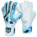 Renegade GK Fury Sub-Z Roll Cut Level 4 Adult & Junior Goalie Gloves with Pro-Tek Fingersaves - Youth Soccer Goalie Gloves with Thumb Protection - Goal Keeper Gloves Kids - Blue, White, Silver