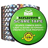 Bird Repellent Scare Tape - Simple Control Device to Keep Away Woodpeckers, Pigeons, Grackles and More. Defense Works Great with Netting and Spikes. Stops Damage, Roosting and Mess. Size (125ft roll)