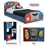 Delta Children - Justice League Twin Furniture Set, 3-Piece by DC Comics (Superman, Batman, Flash, Wonder Woman Upholstered Twin Bed | Storage Unit w/6 Cubbies and Bins | Flash, Batman and Superman