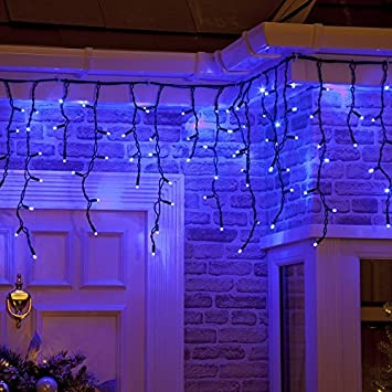 100 static blue connectable outdoor indoor led icicle lights