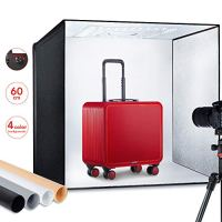 "ESDDI Photo Studio Light Box 24""/60cm Adjustable Brightness Portable Folding Hook & Loop Professional Booth Table Top Photography Lighting Kit 156 led Lights 4 Colors Backdrops"