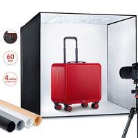 "ESDDI Photo Studio Light Box 24""/60cm Adjustable Brightness Portable Folding Hook & Loop Professional Booth Table Top Photography Lighting Kit 156 led Lights 4 Colors Backdrops"